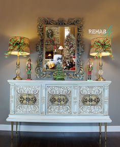 Sideboard Buffet, Credenza, Christmas Wreaths, Christmas Decorations, Xmas, Bedroom Furniture, Painted Furniture, Buffet Server, Cream Paint