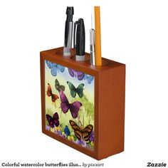 Colorful watercolor butterflies illustration pencil holder
