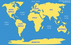 Blue and orange world map of the seven continents and oceans surrounding them.