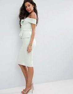 ASOS | ASOS – Neopren-Kleid mit One-Shoulder-Träger und Schößchen in mittlerer Länge