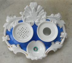 Antique German PORCELAIN INK STAND Ink Pot, inkwell Sander Tray Hallmarked. y. Now this is fascinating!