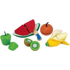 Un lot de fruits à découper par la marque Wonderworld avec son couteau en bois. Des petits éléments en bois et en tissu pour le plaisir d'éplucher et de trancher.