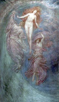 Aphrodite between Eros and Himeros  by William Blake Richmond  Oil on canvas, 217.7 x 126.2 cm  Collection: St Helens Council Collection