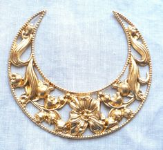1 very large raw brass stamping ornate by GloriousGlassBeads