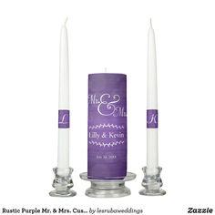 Rustic Purple Mr. & Mrs. Custom Wedding Unity Candle Set Wedding Unity Candles, Taper Candles, Candle Set, Christmas Card Holders, Keep It Cleaner, Wedding Day, Rustic, Purple, Pi Day Wedding