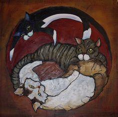 """Caretta-Hull Cats"" - acrylic over scenic dope on plywood, for TJ Hull and Amanda Caretta"