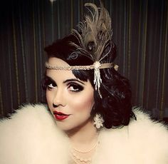 wedding hairstyles with headpiece Great Gatsby Headpiece - Champagne Feather Fascinator - Flapper Headband - Pearl Hair Accessory - Girls Dance Costume - Flapper Headband, Fascinator, Flapper Costume, Flapper Makeup, Gatsby Costume, Flapper Hair, Headband Hair, 1920s Makeup Gatsby, Roaring 20s Makeup