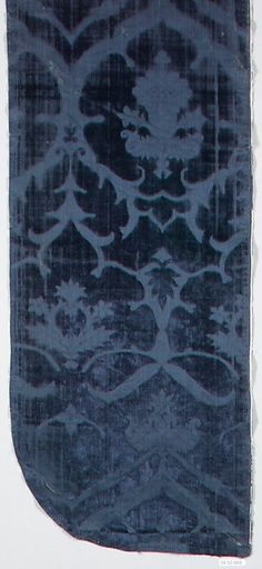 Piece Date: second half century Culture: Italian Medium: Silk Dimensions: H. 23 x W. 10 inches x cm) Classification: Textiles-Velvets Early Modern Period, Late Middle Ages, Curtain Designs, 15th Century, Roman Empire, Byzantine, Ball Gown, Renaissance, Needlework