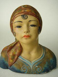 Fabulous RARE Leon Fighiera Art Deco 1920s Chalkware Gypsy Girl Bust Esther Hunt | eBay