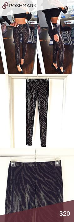 High Waist Shimmery Zebra Style Black Leggings! ♠️ Like brand-new, worn maybe once. In excellent condition. Measure approximately 36.75 inches long and 29 inches inseam. Says size S/P but good for S or XS. Forever 21 Pants Leggings