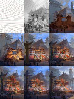Drawing tut.  Asian fantasy art, digital illustrations and character studies. Amazing matte paintings