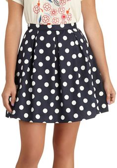 See You Round Skirt - Blue, White, Polka Dots, Pleats, A-line, Cotton, Short, Casual, Scholastic/Collegiate, Spring, Fit & Flare, Variation