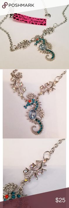 Betsey Johnson Blue Crystal Seahorse Necklace Betsey Johnson New With Tags Blue Crystal Seahorse Pendant Necklace Betsey Johnson Jewelry Necklaces