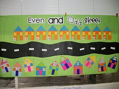 Even and Odd Street. Next year I can tie this math in with my communities unit and mention suburban. Arrays can make city building windows for urban. Now I just need a math thing to go with rural.maybe we will skip count farm animals or something. Math Classroom, Kindergarten Math, Teaching Math, Classroom Ideas, Teaching Ideas, Preschool Bulletin, Math Resources, Math Activities, 1st Grade Math