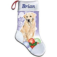 NEW Personalized Golden Yellow Labrador Lab Dog Lover Christmas Stocking Embroidered