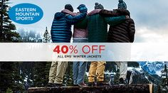Online Only! 40% #Off All EMS Winter Jackets.  Store : #EasternMountainSports Scope: Entire Store  Ends On : 01/28/2017    Get more deals: http://www.geoqpons.com/Eastern-Mountain-Sports-coupon-codes  Get our Android mobile App: https://play.google.com/store/apps/details?id=com.mm.views    Get our iOS mobile App: https://itunes.apple.com/us/app/geoqpons-local-coupons-discounts/id397729759?mt=8