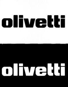 Logotipo ufficiale Olivetti, disegnato da Walter Ballmer nel 1970, nelle versioni positiva e negativa. Questo logo è il risultato di un accurato studio del carattere grafico e del suo impatto visivo; non rappresenta una discontinuità rispetto al logo usato in precedenza, ma la scritta, definita con rigorosa precisione, risulta più compatta ed equilibrata