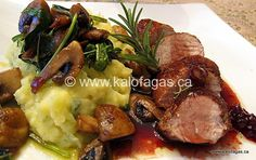 "Pork Tenderloin With ""Liastos"" Wine & Vissino Sauce"