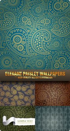 Quality Graphic Resources: Elegant Paisley Wallpapers - Vector Stock