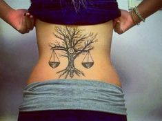 Zodiac Libra Sign And Tree Tattoo Design On Lower Back