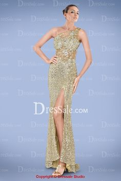 Sparkling One-shoulder Sheath Sequin Prom Gown Featuring Beaded Applique and Sexy Slit, Quality Unique Prom Dresses - Dressale.com