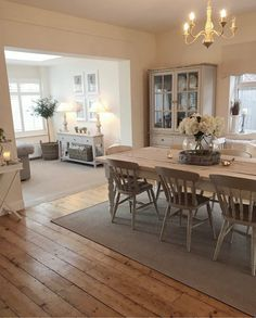 3 Years At Baylyn House Open Plan Kitchen Dining Living, Living Room Kitchen, Home Decor Kitchen, Home Living Room, Living Room Decor, Cottage Living Rooms, Cottage Interiors, Comedor Shabby Chic, Dining Room Inspiration