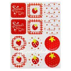 """12 Pegatinas para decorar, """"Frutillas"""", sin duda unas pegatinas muy divertidas que darán un toque muy alegre a los envoltorios de tus creaciones, #jabones, velitas, bolsas de celofán, cajitas para regalo,etc. #packaging"""
