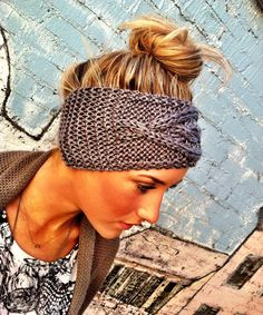 Gray Cable Knitted Headband Ear Warmer Grey