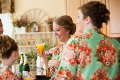Floral bridesmaid robes. Bridal robe. Getting by SunsetToSunrise
