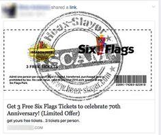 "'Get Free Six Flag Tickets"" Facebook Survey Scam"