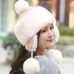 91e0b2a9538 Plain white bomber hat with ear flaps for women fluffy winter hats with ball  on top