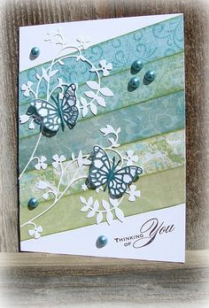 A lovely card making use of lots of scrap - Cool Cards, Diy Cards, Washi Tape Cards, Karten Diy, Butterfly Cards, Pretty Cards, Card Sketches, Sympathy Cards, Paper Cards
