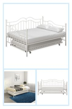 Everyroom Selene Full Metal Daybed With Trundle In White - The elegant and versatile EveryRoom Selene Daybed with Trundle easily transforms from a cozy bed to a charming sofa to bed again. Features elegant spindles with decorative finials and a pull-out trundle for a second bed (mattresses not included). Metal Daybed With Trundle, Bunk Beds Built In, Find Furniture, Bedroom Furniture, Bed Mattress, Cozy Bed, Mattresses, Upholstery, Sofa
