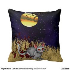 Night Moon Cat Halloween Pillow