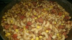 Make it Stretch Broke Pasta (noodles, smoked sausage, ground beef, corn, rotel tomatoes, tomato sauce)