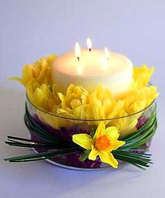 Create a tulip and daffodil centrepiece -   This striking arrangement is so easy to put together, can be ready in minutes and is ideal for Easter