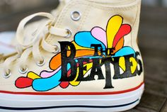 Hand Painted Yellow Submarine Beatles Hi Top White Converse Chuck Taylor All Star Sneakers – tenis de mujer Diy Converse, Painted Converse, Painted Sneakers, White Converse, Converse Shoes, Shoes Sneakers, The Beatles, Painted Clothes, Ideas
