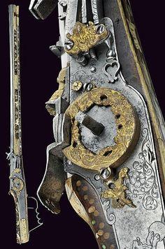 A beautiful wheel-lock rifle, Germany, 17th century.