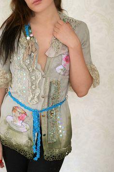 Green tea- romantic textile art jacket, antique laces, hand embroidered details, silk , appliques, beading