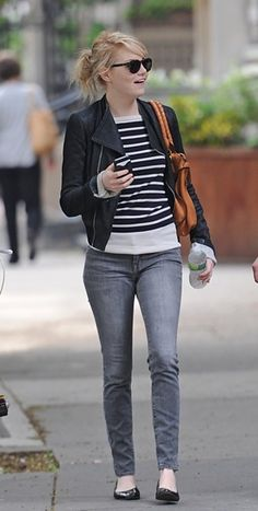stripes, leather, skinny jeans and black flats. This is my new casual look!
