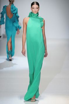 This seafoam green column from Gucci is stunning!  Amazing ruffle detail at the neck and shoulder as well.
