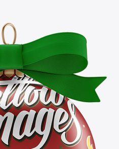 Matte Metallic Christmas Ball Mockup - Front View (Close-Up)