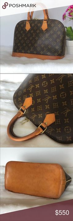"Authentic Louis Vuitton Alma Louis Vuitton Alma Monogram Bag. Beautiful honey patina. Shows wear on hardware, bottom and corners overall is in very good condition! Lightly used on handles. No odors. Dimensions: 9""H x 12""L x 6""W. Made in France. Authentic! Louis Vuitton Bags"