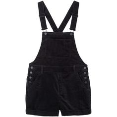 Monki Hanna cord dungarees (1,790 PHP) ❤ liked on Polyvore featuring jumpsuits, rompers, shorts, overalls, dresses, bottoms, black magic, short overalls, black short overalls and monki