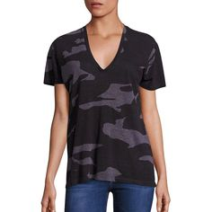 MONROW Oversized Camo Print Tee ($78) ❤ liked on Polyvore featuring tops, t-shirts, apparel & accessories, vintage black, deep v neck tee, camoflage t shirt, deep v neck t shirts, vintage pullover and vintage tees