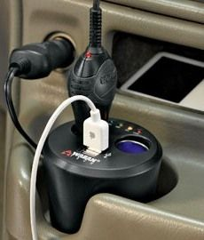 Wagan Tech Twin USB/DC Cup Holder Adapter - Jeff and I never take a car trip without it!