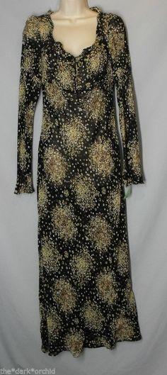 BOSTON PROPER size 10 Black Floral Long Sleeve Sheer Maxi Dress Empire Waist #BostonProper #Maxi