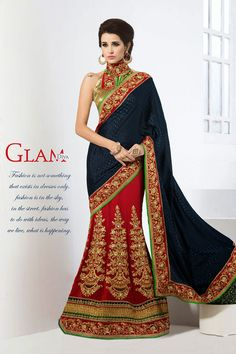 AWESOME NAVY BLUE AND RED EMBROIDERED SAREE