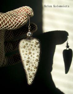 "By Helen Kolomoiets. Bead embroidery. Елена Коломоец. Cерьги ""Два ангельских крыла"". Вышивка бисером.   #АнгельскиеКрылья #вышивкабисером #бисерныесерьги #серьгиизбисера #ручнаяработа #эксклюзив  #BeadsEarrings #BeadEmbroidery #BeadEmbroideryEarrings  #ImitationJeweleryVintage #Exclusive  #Handwork #Beds #AngelWings Angel Wings, Beadwork, Dog Tag Necklace, Drop Earrings, Jewelry, Jewlery, Bijoux, Jewerly, Jewelery"