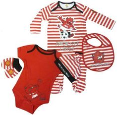 Manchester United 5 Piece Baby Set by Brecrest. $28.18. The Manchester United 5 Piece Baby Set presents excellent value for money and is an official Man Utd product which makes a great gift for any tiny Red Devils fans.  The set contains a sleep suit, a body suit, a bib, a hat and a pair of gloves, all of which are made from soft cotton.  The items feature printed Manchester United logos and Red Devil designs.  The two suits and the gloves also featur...
